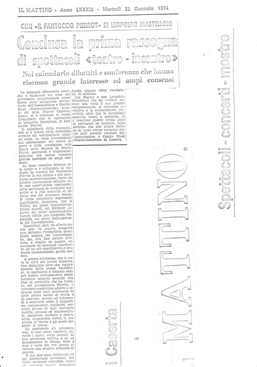 Calendario 1974.Il Mattino 22 Gennaio 1974 I Franco Carmelo Greco